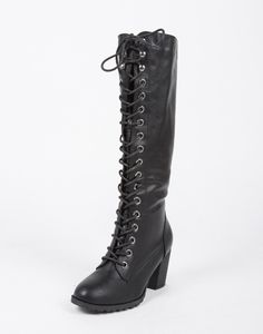 Tall Lace Up Boots - Black Boots - Knee High Boots - Chunky Boots – Shoes – 2020AVE