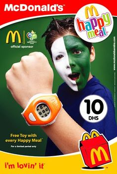 this is visual persuasion through an advertisement, its promoting for parents to take their children to mcdonald, it grabs a kids attention when they see it says a happy meal comes with a free toy persuading parents to take their kids to eat mcdonalds and grabs the kids attention for the free toy.