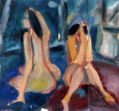 """""""Sólo dos mujeres"""", Alberto Franco - óleo"""