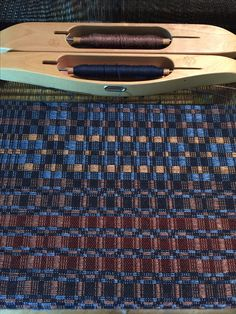 Barbara Pickel - overshot shawl on the loom. Cotton warp; wool/silk pattern weft.