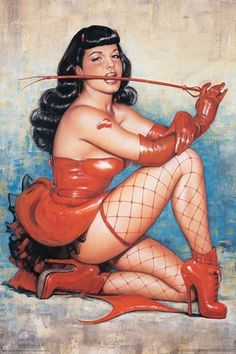 Bettie Page Red Pin Up Girl Pic