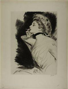 Paul César Helleu (1859-1927), Femme Assise, fumant une Cigarette - 1900
