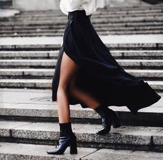 Pair your favorite black booties with a maxi skirt with a slit. When the skirt swings to the side, your boots will be revealed. Let DailyDressMe help you find the perfect outfit for whatever the weather!