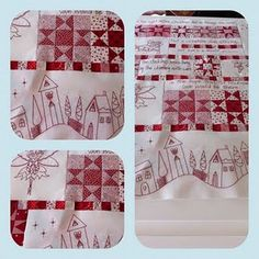 Nice redwork with pieced quilt blocks.  No source pattern listed. :(