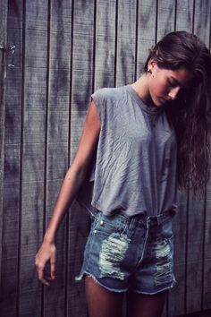 f2375c9abf Short Jeans Shorts with a simple comfy grey Shirt. ascotfriday · denim cut- offs