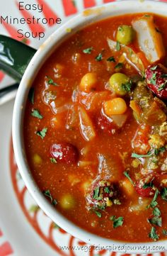 Easy Minestrone Soup. Done in less than 30 minutes, but tastes like it simmered all day.