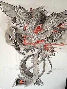 Phoenix tattoo design by ~Unmei-Wo-Hayamete on deviantART