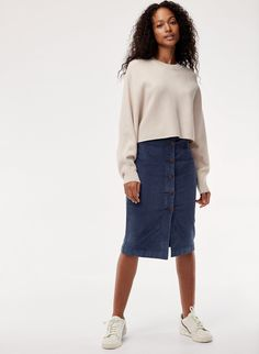 808f9c8cf5 I am loving the functionality of this stretchy pencil skirt -- could easily  unbutton the