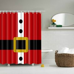 Christmas Santa Claus Waterproof Bath Shower Curtain