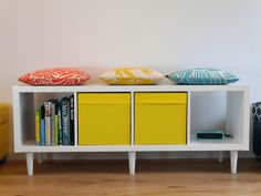 We love this IKEA Kallax Hack. The Ikea Kallax is a multifunctional shelving and storage unit. It can be used in a horizontal position with furniture legs.