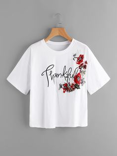 To find out about the Drop Shoulder Letter Print Embroidered Top at SHEIN, part of our latest T-Shirts ready to shop online today! Shirts For Teens, Mom Shirts, T Shirts For Women, Teen Shirts, Shirt Print Design, Tee Shirt Designs, T Shirt Painting, Summer Outfits, Cute Outfits