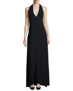 THE ROW Lili Halter-Neck Dress, Black. #therow #cloth #