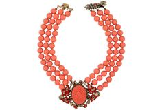One Kings Lane - Vintage Designer Accessories - Faux-Coral Clasp Necklace
