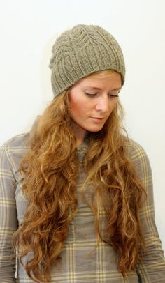 """""""Kathleen"""" Cabled Knit Hat Pattern- """"With it's generous length this hat can be worn slouchy or with a folded brim depending on your preference."""""""