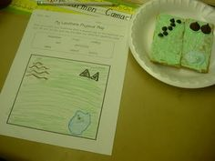 landform idea w/food (usually I use play-doh and make-your-own-placemats)