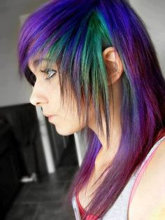 emo❤ Peacock Hair Color, Cool Hair Color, Hair Colors, Gothic Hairstyles, Pretty Hairstyles, Iridescent Color, Locks, Emo Hair, Coloured Hair