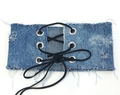 Distressed Denim Choker Denim Choker Jean Choker Wide by Chvker