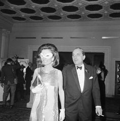 With husband Stas on the way to Capote's Black and White Ball, 1966