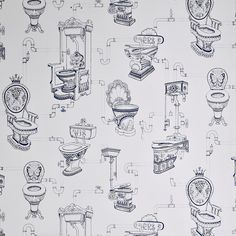 Graham & Brown Blue Loo Loo Removable Wallpaper at The Home Depot - Mobile Toile Wallpaper, New Wallpaper, Bathroom Toilet Wallpaper, Renovation Hardware, Downstairs Loo, Graham Brown, Blue Wallpapers, Blue Walls, Surface Pattern Design