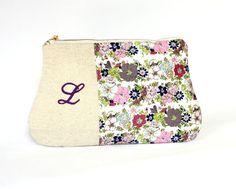 Personalized Clutch Purse, Purple lavender linen clutch, Zippered make up clutch, bridesmaid gift, personalized initial bridesmaid clutch #oyeta #BridesmaidClutch