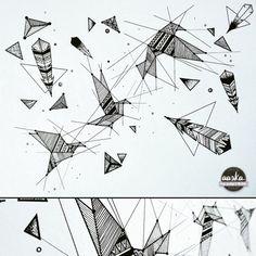 Un peu de géométrie !  Oiseaux & Plumes – Premier essai d'une illustration  géométrique constituée uniquement de lignes et de motifs.  Pour varier les styles et renouer un peu avec le papier, le stylo.  L'exercice est assez long et méticuleux mais c'est une activité qui détend vraiment ! #aérien, #abstractart, #auray, #bird, #bretagne, #connexion, #dessin, #drawing, #feather, #freedom, #freelance, #géométrie, #illustrationart, #lignes, #line, #minimalist, #noiretblanc, #oiseaux, #origami…