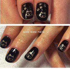 Steffi's nail design! more kitty cat  #meow #cat #nails #nailart #nailsdid #nailgasm #nailporn #nailtrend #nailjunkie #catnails #kitten #kittynails #blackpool #blacknails #shellac #gold #wowwownails #toronto