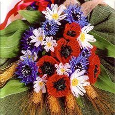 weaving a beautiful bouquet of flowers from beads (Russian) ¡ precioso ramo ¡ Seed Bead Flowers, French Beaded Flowers, Wire Flowers, Paper Flowers, Seed Beads, Ikebana Flower Arrangement, Flower Arrangements, Beautiful Bouquet Of Flowers, Wedding Flowers