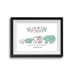Family Motivation Quote,Baby Elephant, Nursery Art, Children Room, Shabby Chic,I will love you until the day after tomorrow,INSTANT DOWNLOAD