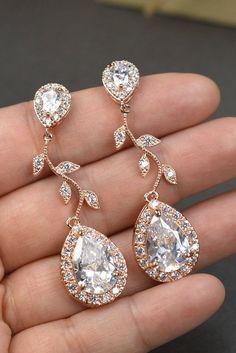 Rose gold Crystal Bridal earrings Wedding jewelry set Wedding Bridal jewelry chandelier dangle Drop Earring bridal necklace bracelet