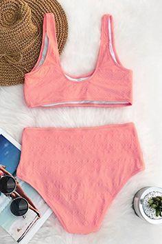 CUPSHE Women s Pink Romance Tank Bikini Set Bathing Suit 06cecc4ec1a57