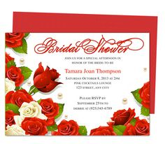 Aroma Bridal Shower Invitation Templates. Beautiful red and ivory roses line this elegant printable, DIY template editable with Word, Publisher, Apple iWork Pages, OpenOffice.