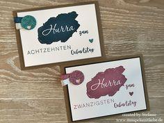 Stampin Up - Card - Karte - Stempelset Meilensteine - Jeansblau - Zarte Pflaume - Glitzerppapier - Worte wie gemalt ♥ StempelnmitLiebe