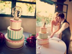 retro wedding cake. Love the style of this cake, simple and cute