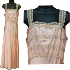 Stunning 1930s slinky rayon nightgown in a lovely peachy pink color; size large bias cut fabric. Offered at an introductory Sale Price for a short