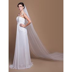 Two-tier Cathedral Wedding Veils With Cut Edge (More Colors) – USD $ 19.19