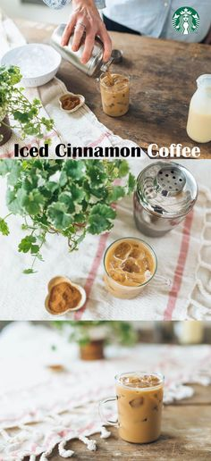 Iced Cinnamon Coffee Recipe: Fill a cocktail shaker with 5 oz double-strength coffee (try Starbucks® Breakfast Blend), 1 tbsp sweetened condensed milk and a pinch of ground cinnamon. Stir well. Add 1 cup ice. Cover the cocktail shaker and shake vigorously for about 2 minutes. Fill a glass with ½ cup ice. Strain the coffee mixture into the glass. Serve and enjoy!