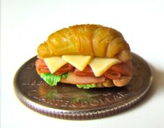 Limited edition photograph of handcrafted miniature croissant sandwich