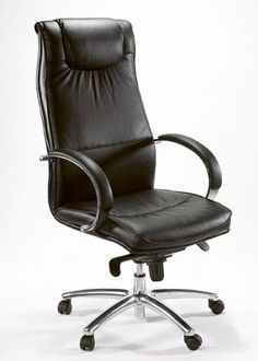 The Alu highback is a black bonded leather chair with a chrome base and comfortable padded arm rests Boardroom Chairs, Boardroom Furniture, Office Furniture, Office Chairs, High Back Chairs, Bonded Leather, Executive Office, Group, Home Decor
