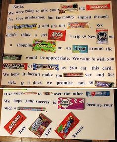 Graduation Card Made With Candy Bars. How to Make a Candy Letter for a Graduate 8th Grade Graduation, Graduation Celebration, Graduation Cards, Graduation Letters, Graduation Scrapbook, Candy Bar Cards, Candy Bar Gifts, Candy Signs, Card Candy
