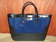 Ralph Lauren Blue & Black Nylon & Faux Leather Tote Bag #RalphLauren #TotesShoppers
