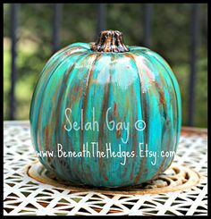 Gorgeous Hand Painted Aqua Turquoise Pumpkin Halloween Fall Thanksgiving Decor on Etsy, $24.00