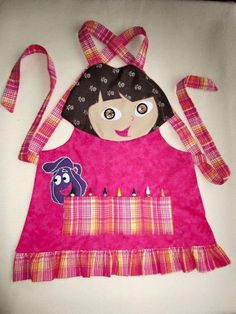 Kids Apron - DORA Craft Apron, Cooking Apron, Garden Apron - Fully Lined - Made to Order - Sizes from and Sewing Crafts, Sewing Projects, Childrens Aprons, Gardening Apron, Apron Designs, Cute Aprons, Sewing Aprons, Kids Apron, Dora The Explorer
