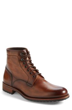 shipping and returns on Magnanni 'Marcelo' Plain Toe Boot (Men) at . Richly burnished leather lends vintage charm to a bold and rugged boot featuring a tough lug sole that resists oil, grease and abrasion. Rugged Style, Dress With Boots, Dress Shoes, Leather Men, Leather Shoes, Brown Leather, Fashion Shoes, Mens Fashion, Men's Footwear