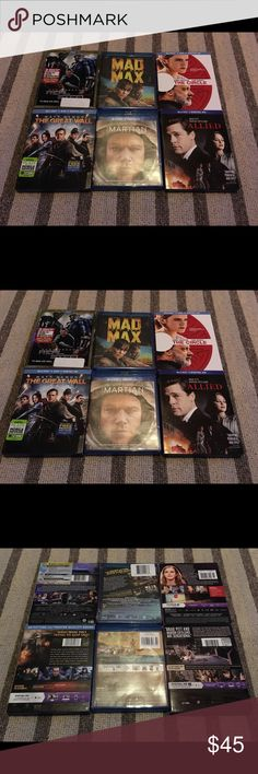 Mad Max, Real Steel, Circle, Martian, Great Wall ~ Mad Max Fury Road (Blu-ray Disc, 2015, Includes Digital HD Copy), starring Tom Hardy, brand new! Bonus 5 Blu-Rays in like new condition, viewed once: The Great Wall, The Martian, Allied, The Circle, and Real Steel. Other