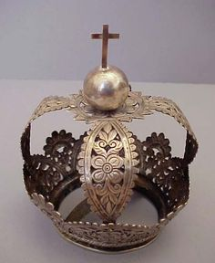 Antique Spanish Colonial Silver Madonna, Santo Crown