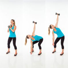 6 Moves for a Rock-Solid Stomach: Lower into a squat as you rotate your torso to the left and straighten both arms, reaching right hand to the floor and left hand w/ dumbbell to the ceiling. Maintaining upper body position, raise halfway up out of squat (pressing up with left side of torso), then lower back to touch floor w/ right hand. Return to start. 15 reps, then repeat sides.