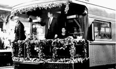 June 8, 1968 ~ Robert Kennedy's Funeral Train - 2nd From Right Is Senator Edward Kennedy Waving To The Crowds ~ To His Left I Believe Is Claudine Longet ~ The Wife Of Singer Andy Williams - The Couple Were Quite Close With Bobby & Ethel