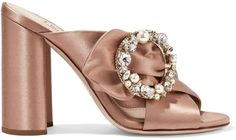 Miu Miu Embellished Satin Mules on ShopStyle #bagsandpurses