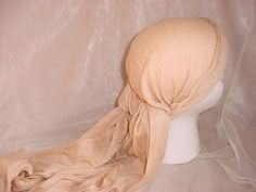 seller; florasgarden on ebay ~ Renaissance Gypsy Pirate Head Scarf Hat Sash Beige Cotton with Knotted Fringe
