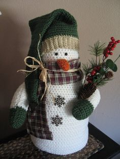 Items similar to Crocheted Snowman/Country/Primitive Decor/Made PER Order NOT re. - Items similar to Crocheted Snowman/Country/Primitive Decor/Made PER Order NOT ready to ship on Etsy - Crochet Dolls Free Patterns, Christmas Crochet Patterns, Holiday Crochet, Crochet Toys, Doll Patterns, Snowman Decorations, Snowman Crafts, Holiday Crafts, Country Primitive